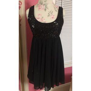Black Sequin Sexy Chiffon Evening Dress